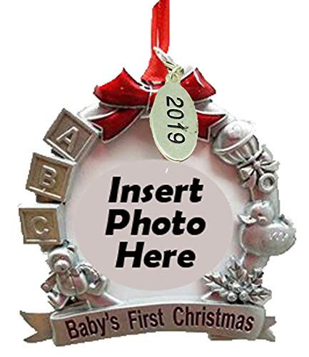 Twisted Anchor Trading Co Baby Frame Ornament for Babys First Christmas Ornament 2019 2.5 x 2.5 Inch - with Gift Box - First Christmas Frame Ornament