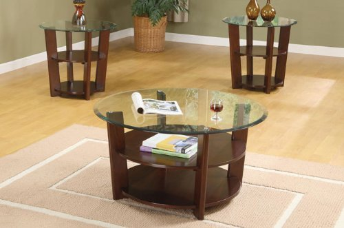 3pcs Coffee and End Table Set with Storage Shelves (1 2 Coffee Barrel Table)