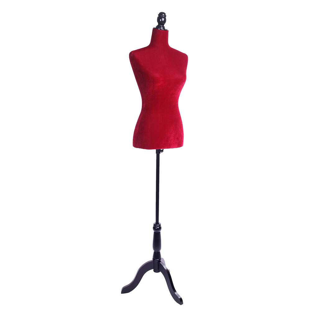 Half-Length Foam & Brushed Fabric Coating Lady Model for Clothing Display Red by Thxbye