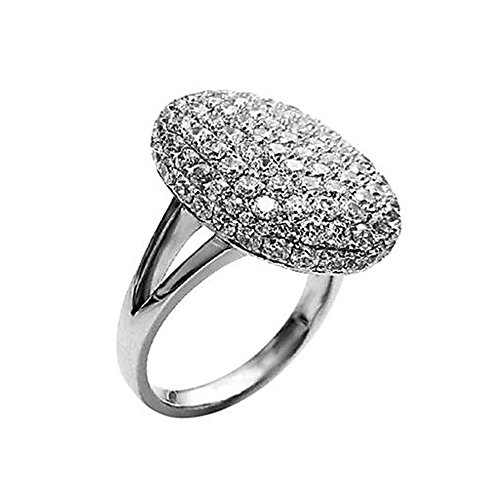 Clot Evil Women's Silver-tone Sparkle Rhinestone Engagement Ring (7)]()