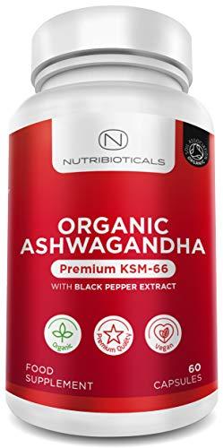 🥇 Ashwagandha KSM-66 Vegano orgánico con pimienta negra orgánica | Certificado orgánico por Soil Association | Fórmula Ayurveda conocida como Withania Somnifera | 60 cápsulas