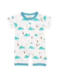 Babysoy 100% Lightweight Organic Cotton Dolphin Pocket Romper