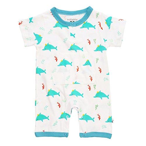 Babysoy 100% Lightweight Organic Cotton Dolphin Pocket Romper (0-3 Months, Ocean)