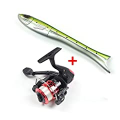 You can enjoy fishing soon with this prepared fishing reel and rod combo. Only 8.0in in collapsed length to fit in your pocket or fishing tackle. Glass steel fiber rod, solid and strong, free to fight with big game fish.  You will be surprise...