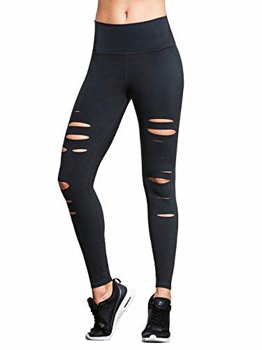Jakarta Collection (Bestmail Women's Black Skinny Ripped Cutout Yoga Workout Leggings Pants,Black,Medium)