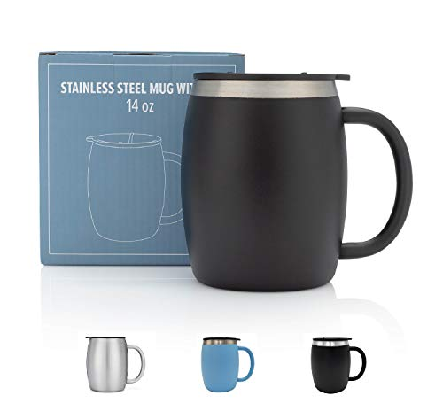 (Stainless Steel Coffee Mug with Lid - 14 Oz Double Walled Insulated Coffee Beer Mugs - Black - Best Value - BPA Free Healthy Choice - Shatterproof and Spill Resistant)