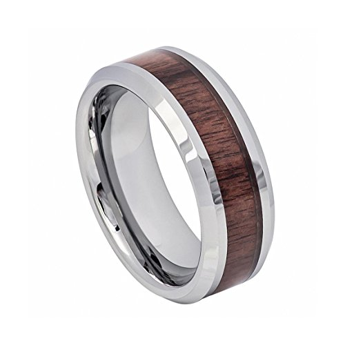 Krezy Case Men's 8mm High Polished with Mahogany Wood Inlay Beveled Edge Tungsten Ring
