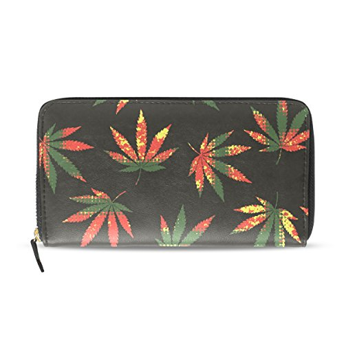 Womens Zipper Wallet Hemp Marijuana Leaf Clutch Purse Card Holder Bag