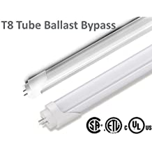"T8 LED Tube 4ft 48"" Ballast Bypass Bulb - 18W (32W fluorescent), 3000K - warm white, 160 degree beam angle (+180 degree rotatable cap), cETL certified (=CSA and cUL), Length - 4 ft (48 inch or 1200 mm)"