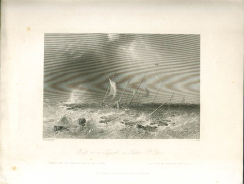 Raft in squall Lake St Peter PQ Bartlett engraving 1840