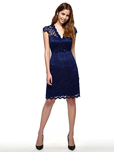 Blue Dress Lace Size Day Sexy CASF Plus Summer Women's Neck V fxO14q