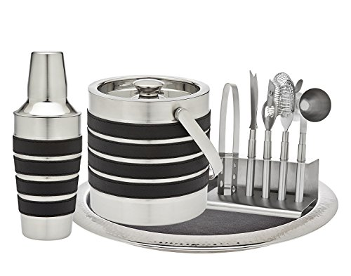 Godinger Silver Art Modern Stripe 7-piece Leather Stainle...