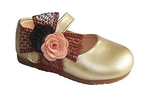 Cinda Baby Mädchen Taufe Blume Partei Schuhe Gold