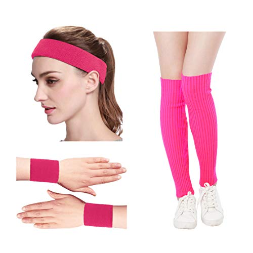 Kimberly's Knit Women 80s Neon Hot Pink Running Headband Wristbands Leg Warmers Set