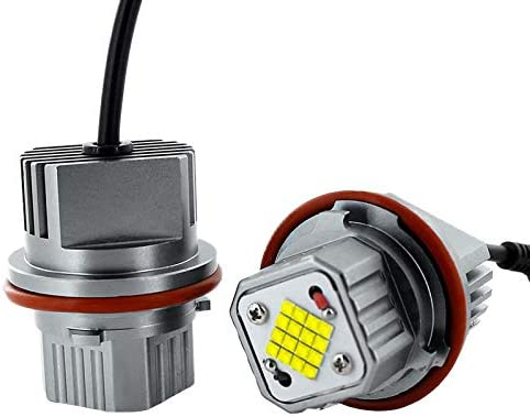 Semoic 2Pcs 80W White Angel Eyes LED Marker Lights Super Bright Car Front Light Lamp Headlight for E39 E53 E83 E60 E61 E64