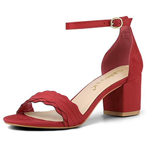 Allegra K Women Buckle Ankle Strap Low Block Heel Sandals Red