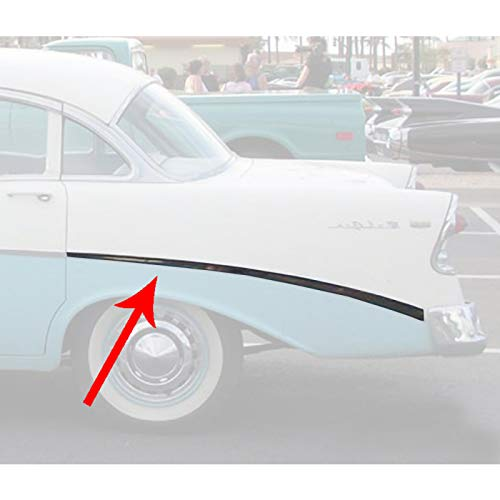 Eckler's Premier Quality Products 57-360205 Chevy Rear Quarter Panel Molding, Bel Air, Left, For 4-Door Sedan & Wagon, Show Quality,