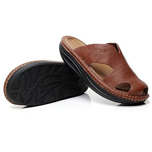 Genuine Slippers Clogs High amp;Mules Platform Comfort Sandal Leather rismart Men's End Brown twqOOY