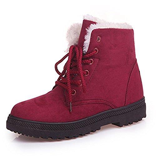Platform Suede Booties - Xiakolaka Women's Fleece Lined Suede Platform Lace up Winter Boots Red US 9.5