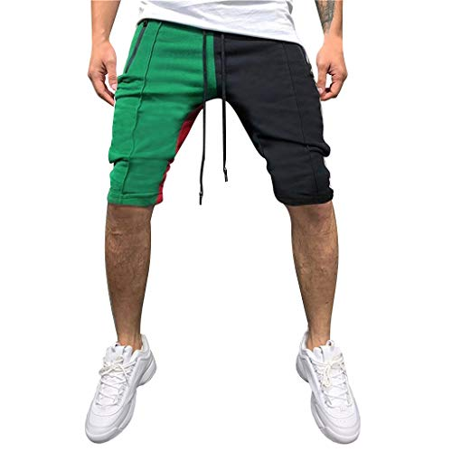 LUCAMORE Men's Casual Soft Elastic Waist Drawstring Patchwork Gym Active Pocket Shorts Green