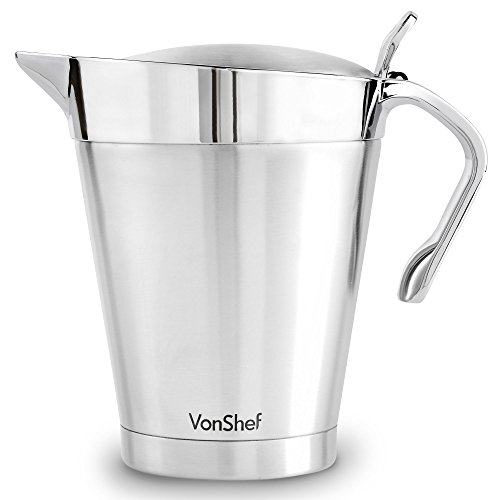 VonShef Stainless Steel 34oz Gravy Boat and Sauce Jug with Hinged Lid, Double Wall Insulated, Large 34 Fluid Ounces Capacity (Boat Sauce Body)