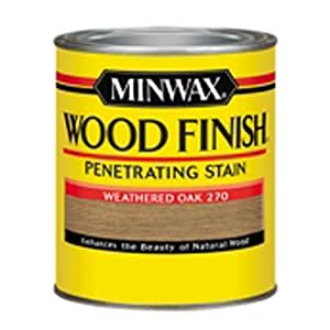 Minwax 227604444 Wood Stain Penetrating Interior Wood Stain, 1/2 pint,  Weathered Oak