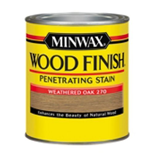 Minwax 227604444 Wood Stain Penetrating Interior Wood Stain, 1/2 pint,  Weathered Oak (Oak Doors Stain)