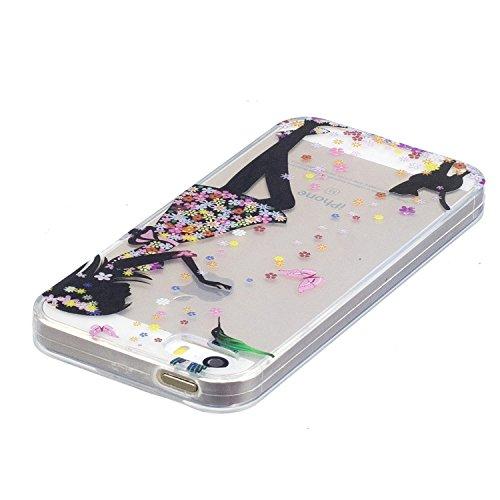 iPhone 5 5S Coque Filles et chats Premium Gel TPU Souple Silicone Transparent Clair Bumper Protection Housse Arrière Étui Pour Apple iPhone 5 5S / SE + Deux cadeau