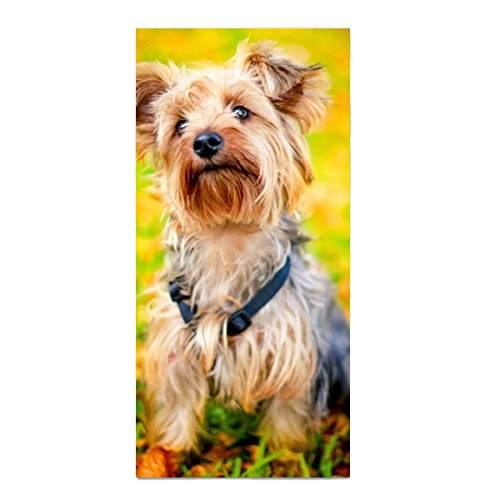 (Cute Youkshire Terrier Towels Fingertip, Personalized Gift, 11.8 × 27.5 Inches, Extra Absorbent Towel For Bathroom/Kitchen/ Spa)