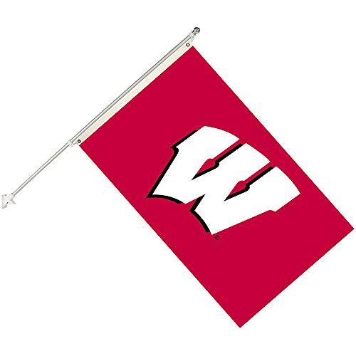 Seasonal Designs NCAA Wisconsin Badgers Collegiate Helmet Flag Kit, Black, Size 3 x 5 by Seasonal Designs
