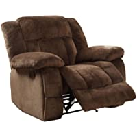 Homelegance 9636-1 Laurelton Textured Plush Microfiber Glider Recliner Chair, Chocolate Brown