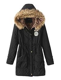 Z&I Women Winter Fur Trim Hooded Parka Coat Thicken Lambswool Lined Outdoor Jacket
