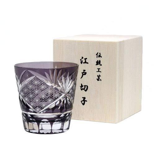 江戸切子 花菱紋 天開オールドグラス TB96325M (江戸紫) B07BKMPT85