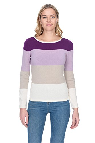 (State Cashmere Women's 100% Pure Cashmere Boat Neck Striped Panel Sweater)