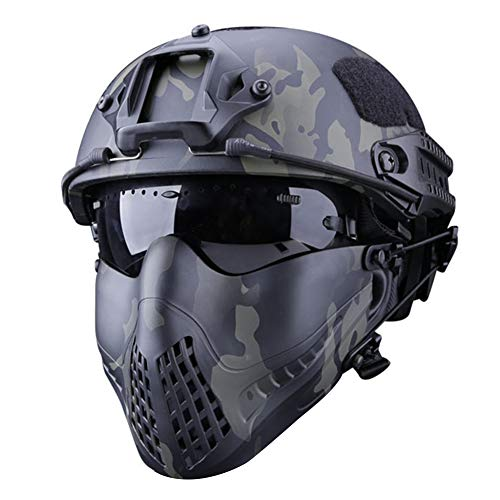 Adjustable Military Tactical Mask - Pilot Camouflage Face Protective Mask Dual Mode Headband System,TPU Material Outdoor Tactical Camouflage Mask for Airsoft Hunting Paintball, Without helmet - Paintball Mask Tactical
