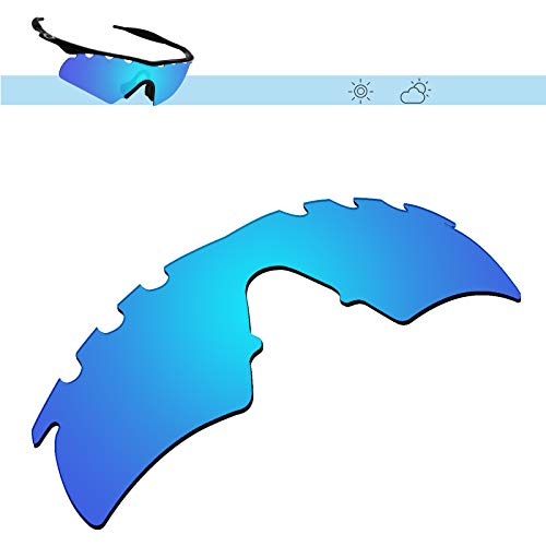 Vented Hybrid Accessory Lenses - Glintbay 100% Precise-Fit Replacement Sunglass Lenses for Oakley M Frame Hybrid Vented - Polarized Ice Blue Mirror