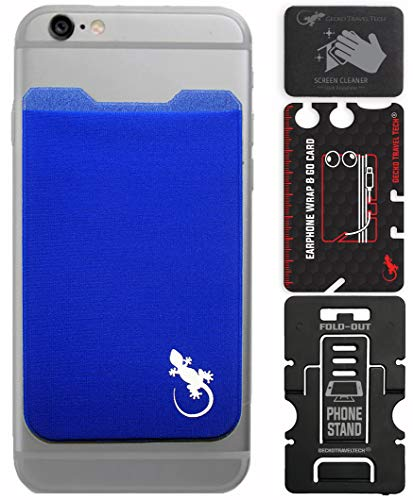 Gecko Travel Tech Blue Phone Wallet Adhesive - Blue Case Wallet for Android & Smartphones - Cellphone Case Wallet Blue