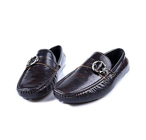 GRRONG Zapatos De Cuero Zapatos Perezosos De Los Hombres De Los Zapatos De Automóviles Hebilla De Cuero Puro De Los Hombres Brown