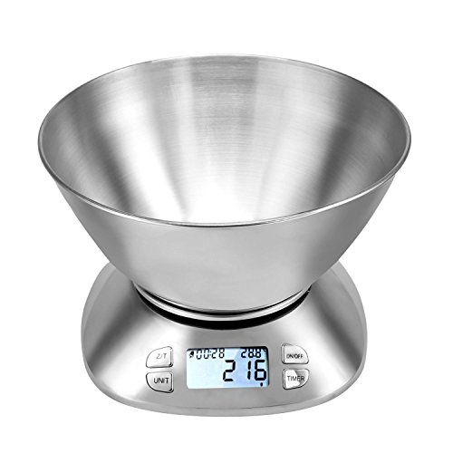 Digital Kitchen Scale with Bowl 11lb Stainless Steel Food Scale with Timer Function [US Stock] by Rateim