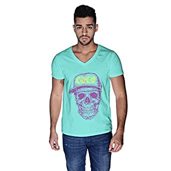 Creo Violet Yellow Coco Skull T-Shirt For Men - S, Green