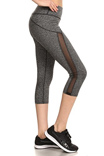 Sejora Satina Yoga Pants & Capris Activewear Exercise Leggings w/Designs & Mesh (Large, 03 Grey) Capri Yoga Pants
