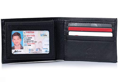 Alpine Swiss Mens Leather Wallet 2-In-1 Bifold Flip up Removable Card Case Crosshatch Black (Wallet Bifold Flip)