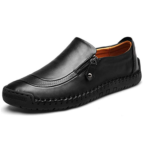 Qiucdzi Mens Leather Comfortable Shoes Hand Stitching Zipper Non-Slip Casual Shoes Loafer Boat Sneaker Black