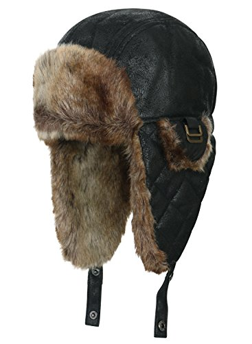 [ililily Faux Leather Quilted Faux Fur Lining Aviator Trapper Trooper Pilot Hat , Black] (Adult Aviator Hat)