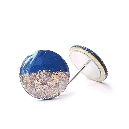 Painted navy blue with rose gold glitter wood stud earrings 1/2