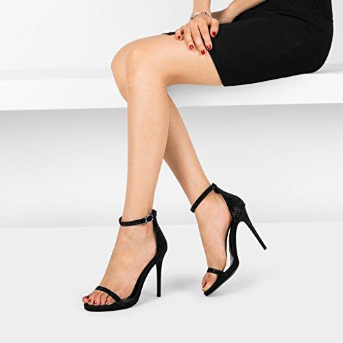 Avec Hauts 10 à Sandales des Chaussures Orteil Sexy Noir Ouverte Avec Un Mot Diamant Noir Femmes wysm Boucle Talons Mot 7cm qt0Bw7