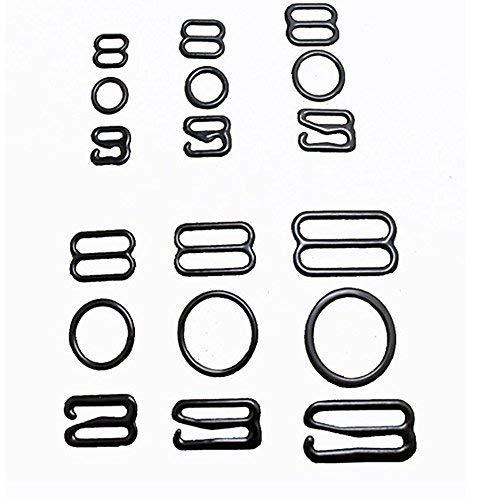 Wholesale 50set Size 8mm/10mm/12mm/15mm/20mm Black Color Nylon Plastic Bra Adjuster Buckles Slider Hook Ring