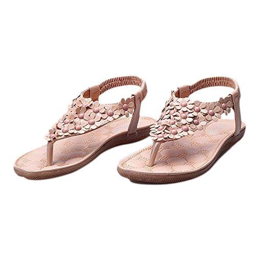 LANDFOX Verano Bohemia Sweet Beaded sandalias clip dedo del pie sandalias zapatos de playa Caqui