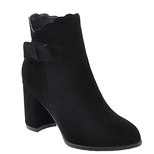 Latasa Womens Faux Nubuck Asymmetrical Opening Ankle Boots Black