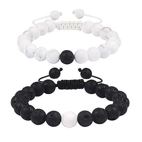 ace92558caee6 Jeka Couples His & Hers Bracelets Crown King and Queen Jewelry 10mm Beads  Friendship Relationship for Men Women